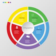 Infographics circle of 5 elements , presentation timeline template step option