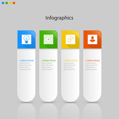 Infographics  4 elements ,step or process presentation timeline template