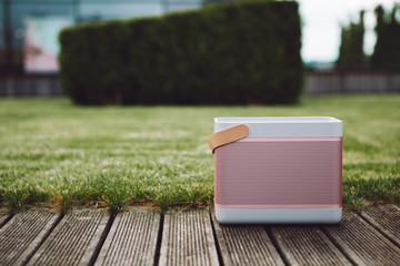 Cool pink Portable small wireless speaker playing in a park