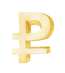 Golden ruble symbol on white background , Watercolor illustration painting.