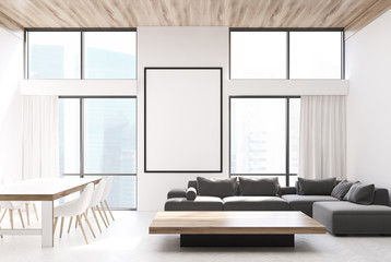 White living room, sofas and a table
