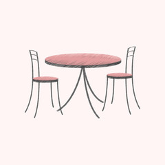 flat shading style icon Chairs and table