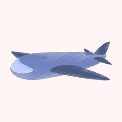 flat shading style icon Toy airplane