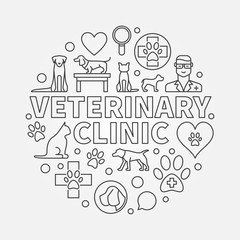 Veterinary clinic round illustration