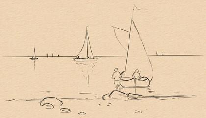 Sea landscape. Ships, boat. fisherman.