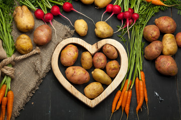 Fresh natural vegetables. Carrots, potatoes and radishes on a black wooden background. Rustic style.