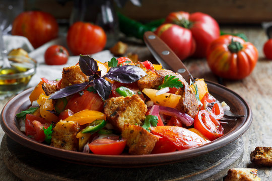 Panzanella, traditional Italian salad with tomatoes and bread
