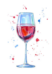 Glass of a red wine and splash.Picture of a alcoholic drink.Watercolor hand drawn illustration.