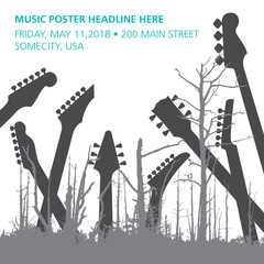A dead forest of trees and guitar headstocks ideal for music CD cover