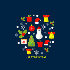 Merry Christmas and Happy New Year flat design background for greeting card, invitation, poster, flyer.