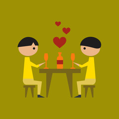 flat icon on stylish background gay romantic dinner