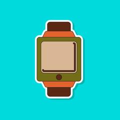 paper sticker on background of Digital Watch