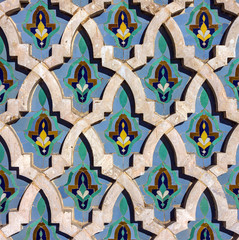 Abstract pattern background, Casablanca, Morocco. Mosque Hassan II decoration