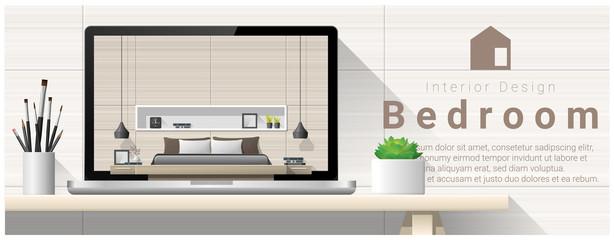 Modern bedroom interior design background , vector , illustration