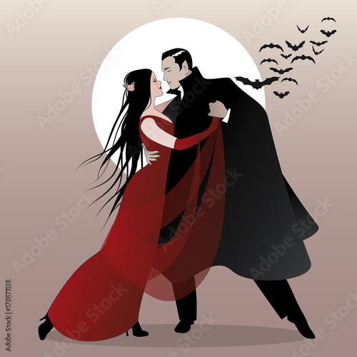 Halloween Dance Party. Romantic vampire couple dancing at ...