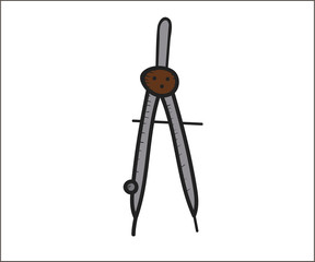 Compass tool for measurements. Vector doodle illustration in eps10