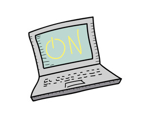 Laptop icon. Vector doodle illustration in eps10