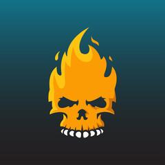 flame skull face illustration