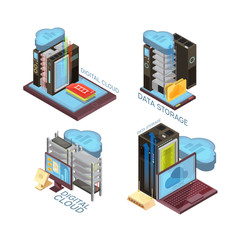 Data Cloud Service Isometric Concept