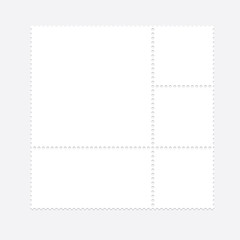 Blank postal stamp collection.illustration vector