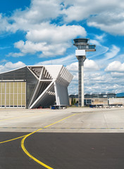 Air traffic control tower in the airport.