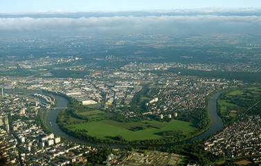 Aerial view of Fechenheim, Frankfurt am Main, Germany.