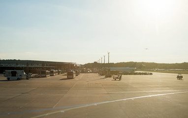 Airport in the morning. Buses and airplanes.