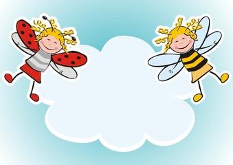 banner, ladybug and bee, two figure, carnival