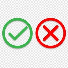 Green tick and red cross checkmarks line icons. Vector illustration isolated on white background