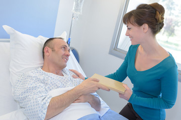 happy couple in love at hospital