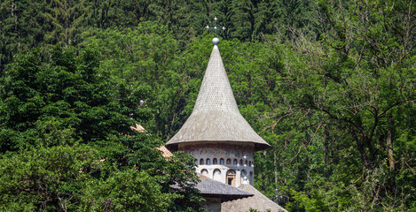 Outside view of Tower at Voronet orthodox monastery in Romania