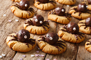 Halloween cookies with chocolate spiders close-up on a wooden table. horizontal