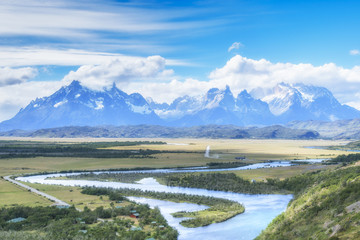 Panoramic view of the Torres del Paine National Park on sunny day, Patagonia, Chile