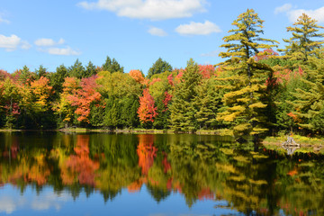 Church Pond in fall with foliage in town of Paul Smiths, Adrondack Mountains, New York, USA.