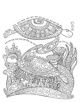 Sea turtle doodle style coloring page. Underwater vector illustration for adult coloring.
