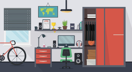 Cool modern teenager room interior with table, chair, cupboard, computer, bicycle, lamp, books and window in flat style. Vector illustration.