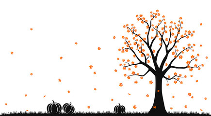 Autumn landscape with tree and pumpkin silhouette