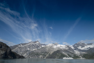 Aluminium Prints Light pink Cirrus Clouds and Cruise Ship, Glacier Bay