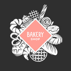 Set of vector bakery engraved elements. Typography design with bread, pastry, pie, buns, sweets, cupcake. Collection of modern linear graphic design template. Bakery shop. Top view composition.