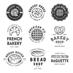 Set of vintage style bakery shop labels, badges, emblems and logo. Vector illustration. Monochrome graphic art with engraved design elements. Collection of linear graphic on white background.