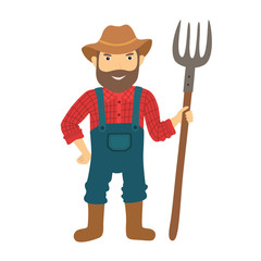 Funny farmer character with a pitchfork