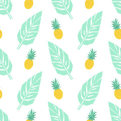Tropical trendy seamless pattern with pineapples and mint green palm leaves on white background. Exotic Hawaii art background. Fashion design for fabric, wallpaper, textile and decor.