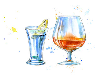 Vodka with lemon and cognac.Picture of a alcoholic drink.Watercolor hand drawn illustration.Isolated sketch.