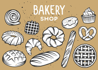 Set of vector bakery engraved elements. Typography design with bread, pastry, pie, buns, sweets, cupcake. Collection of modern linear graphic on white background. Bakery shop. Top view.