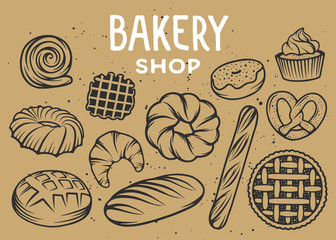 Set of vector bakery engraved elements. Typography design with bread, pastry, pie, buns, sweets, cupcake. Collection of modern linear graphic, food hand drawn sketch. Bakery shop. Top view.