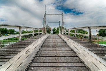 Low, Very Close-up View of Wooden Bridge. Centered