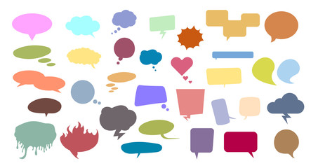 Flat colorful speech and thinking bubbles in all kinds of shapes. Vector illustration set