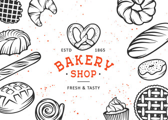 Set of vector bakery engraved elements. Typography design with bread, pastry, pie, buns, sweets, cupcake. Collection of modern linear graphic on white background. Bakery shop logotype. Top view.