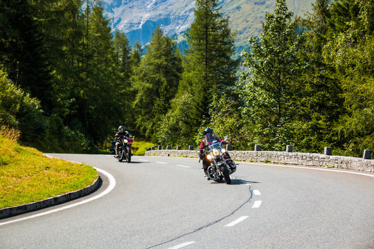 Motorcycle on Country road to Grossglockner at the european alps, Austria