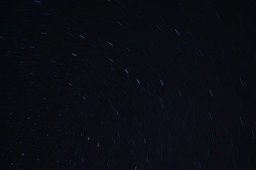 the movement of the stars in a circle in the night sky, background, texture